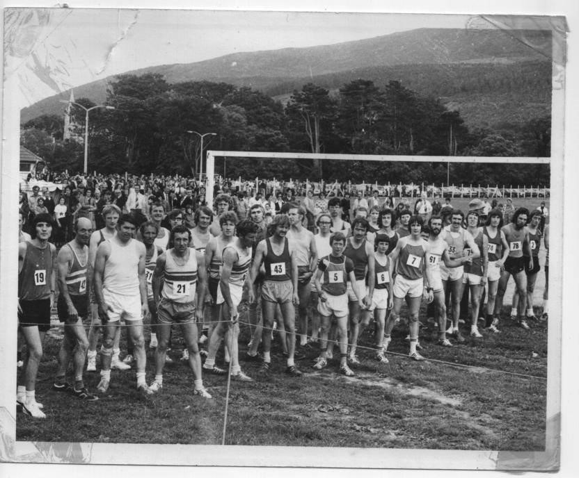 Jim Hayes - number 21 at the race start in Donard Park in 1975 - his 2nd victory