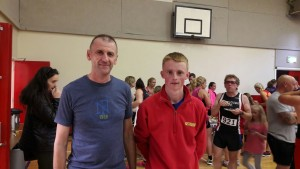 Zac Hanna and Declan Rice at the Strangford 10K, which Zac won in a PB of 34:05.